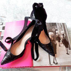 NWOT Zara black shiny effect stiletto heel pumps
